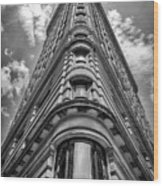 Flatiron Building  Nyc Black And White Wood Print
