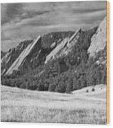 Flatiron Morning Light Boulder Colorado Bw Wood Print
