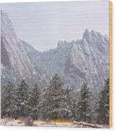 Flatirons From The South Boulder Colorado Wood Print