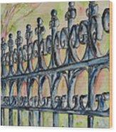 Fleur De Lisrod Iron Fence Wood Print