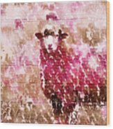 Fleur De Sheep Wood Print