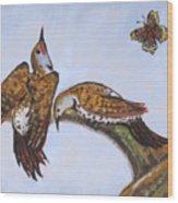 Flickers Dancing Wild Animal Vignette From River Mural Wood Print