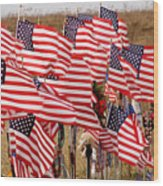 Flight 93 Flags Wood Print