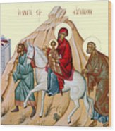 Flight Into Egypt Painting At Shepherds Field Wood Print