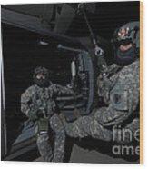 Flight Medics Practice With The Uh-60 Wood Print