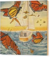 Flight Of The Monarchs Wood Print