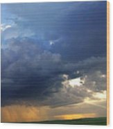 Flint Hills Storm Panorama 2 Wood Print
