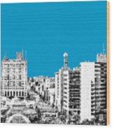 Flint Michigan Skyline - Aqua Wood Print