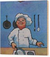 Flipping Pancakes Wood Print