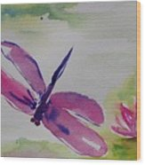 Float Like A Dragonfly Wood Print