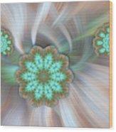 Floating Aqua Flakes Wood Print