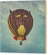 Floating Cat - Hot Air Balloon Wood Print