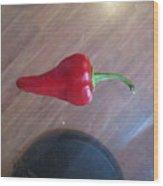 Floating Cherry Chilli Wood Print