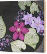 Floating Clematis Wood Print