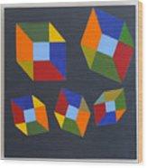 Floating Cubes 2 Wood Print