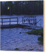 Floating Fishing Boat Dock Wood Print