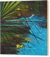 Floating Gold On Reflected Blue Wood Print