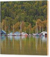 Floating Homes Along Multnomah Channel In Portland Oregon Wood Print