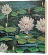 Floating Lillies Wood Print