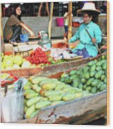 Floating Market In Thailand Wood Print
