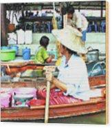 Floating Market Thailand Wood Print
