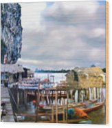 Floating Village Thailand Wood Print
