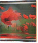 Floating Wild Red Poppies Wood Print