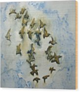 Flocking Birds Wood Print