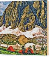 Floe Lake Painted Wood Print