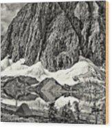 Floe Lake Sepia Wood Print