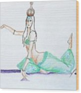 Floor Work -- Belly Dancer Portrait Wood Print