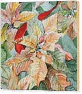A Peachy Poinsettia Wood Print