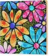 Floral Art - Big Flower Love - Sharon Cummings Wood Print