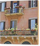 Floral Balcony Wood Print