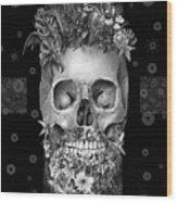 Floral Beard Skull 3 Wood Print