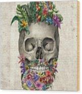 Floral Beard Skull Wood Print