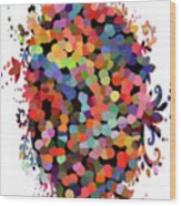 Floral Bouquet Abstract With Dots Wood Print