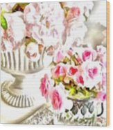 Floral Bouquets Pink Roses  Wood Print