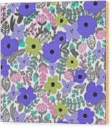 Floral Burst Of Blue Wood Print