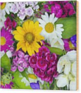 Floral Chaos Summer Collage Wood Print