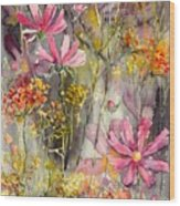 Floral Cosmos Wood Print