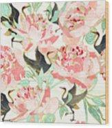 Floral Cranes Wood Print