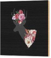 Floral Deer On Black Wood Print