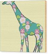 Floral Giraffe Wood Print