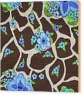 Floral Giraffe Print Wood Print