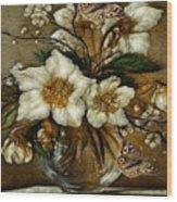 Floral In Glass Vase Wood Print