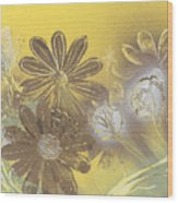 Floral In Gold And Yellow Wood Print