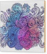 Blue Floral Indian Pattern Wood Print