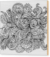 Black And White Floral Indian Pattern Wood Print
