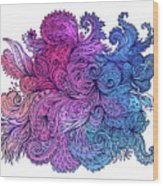 Lilac Floral Indian Pattern Wood Print